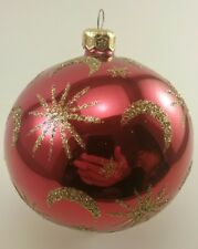 "CHRISTOPHER RADKO CHRISTMAS ORNAMENT ""CELESTIAL"" GOLD MOON AND STARS ON RED BALL"