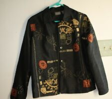 Chico's Jacket Womens size 1 or M Black Embroidery Coat Additions Lined -HGG