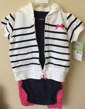 CARTERS BABY GIRL CARDIGAN 3 Pc Set 6 Months Pink, Blue White Baby Outfit Hoody