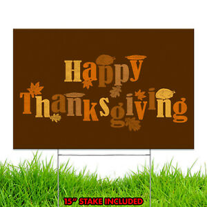 Happy Thanksgiving Turkey Day Holiday Season Fall Decoration Yard Sign Design B1