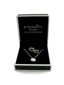 Eternity Necklace/Pendant  Swarovski Crystals + Clip on Earrings  - Boxed