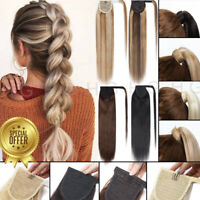 US Natural Thick Ponytail Human Hair Extensions Clip In Ponytail As Human Hair