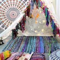 100% Cotton Handmade Chindi Indian Braided Tassel Rag Area Rugs Mat Yoga Mat