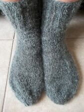Hand knitted mohair/wool fuzzy socks, charcoal gray