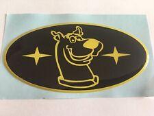 SCOOBY DOO CAR DOMED SUBA IMP GRILL BONNET BADGE BLACK & YELLOW 100 X 50MM 01-07
