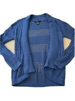 89th and Madison Woman's Size Small Open Front Blue Chevron Knit Cardigan