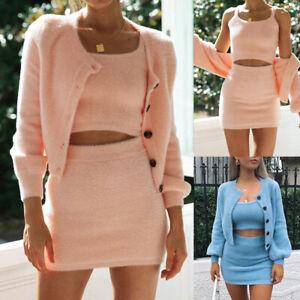 3PCS Suit Set Women's Fluffy Camisole Crop Tops Short Skirt + Cardigans Jacket