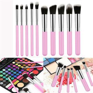 10x Kabuki Style Foundation Professional Contour Face Powder Pro Pink Brushes