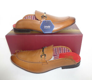 Base London Mens Tan Slip On Leather Backless Casual Shoes New RRP £70 UK Sizes