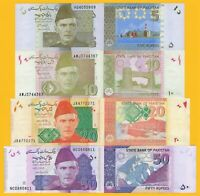 Pakistan Set 5, 10, 20, 50 Rupees 2009-2019 UNC Banknotes
