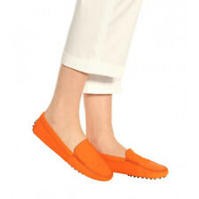 Tod's Gommino suede orange loafers sz 7-8