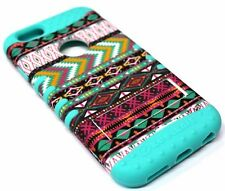for iPhone 6 6s - Tribal Arrow Mint Blue Rubber Hard Soft Hybrid Protector Case