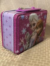 Disney Frozen Princess Elsa Anna & Olaf Purple Tin Lunch Box