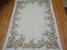 "Vintage Strawberries Kitchen Tablecloth Linen 50""x68"""