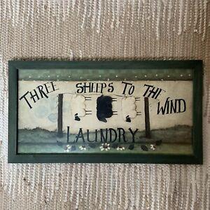 Basco Transworld Wall Art Laundry Room Sheep Farmhouse Country Rustic Framed