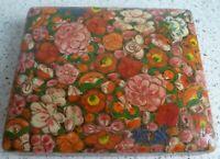 Vintage TRINKET BOX:  Handmade and Hand Painted:  Kashmir, India: Floral