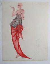 Original VTG Hand Drawn Fashion Design, c1960s James W. Hartier, Futuristic