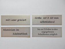 Türschild Aluminium, Edelstahllook, 60 x 20  mm,  bis 2 Zeilen, Lasergravur