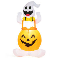 4.5' Halloween Inflatable Blow Up Ghost in Pumpkin w/LED Light Night Display