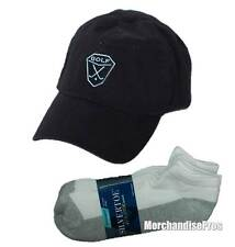 MEN'S BLACK 100% COTTON GOLF BASEBALL CAP & GOLD TOE NO-SHOW SOCKS BUNDLE  NEW!