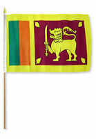 """12x18 12""""x18"""" Sri Lanka Stick Flag wood Staff"""