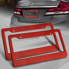 2 x JDM Red Carbon Fiber Look License Plate Frame Cover Front & Rear Universal 5