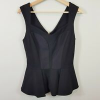 [ CUE ] Womens Black Peplum Ponte Top | Size AU 8 or US 4