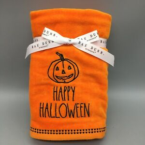 x2 Rae Dunn HAPPY HALLOWEEN Bathroom Hand Towel Set Embroidered Jack o Lantern