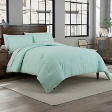 Garment Washed Solid Full/Queen Comforter Set in Mint