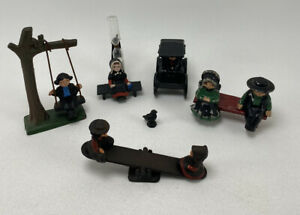Vintage Lot of 11 Cast Iron Amish Dutch Figures Seesaw, Hour Glass, Swing & More
