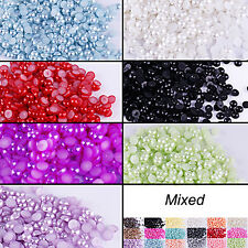 LC_ 500Pcs 1.5mm Half Round Bead Flatback Acrylic Pearl Scrapbooking DIY Craft