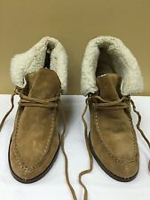 Michael Kors Brown Leather Wedge Ankle Boots Sherpa size 10M pre-owned