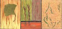 "Xander Booker Alabama Artist Set 3 Painted Wood Panels 5"" x 7"" Gingko Herb"