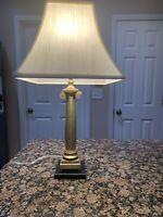 Vintage Brass Column Table Lamp by SPEER Marble Base Art Deco Hollywood Regency