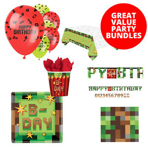 TNT Minecraft Gaming Birthday Party Decorations Bundle Party Tableware Set Pack