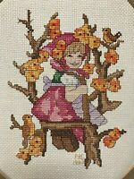 Completed cross stitch embroidery Apple Tree Girl Hummel pink swing 10x13 decor