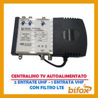 CENTRALINO ANTENNA TV 3 INGRESSI UHF VHF REGOLABILI FILTRO LTE 25 30 DB 1 USCITA