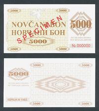 BOSNIA  5000 Dinara 1992 UNC P9s  SPECIMEN  all zeroes serial number  FAKE