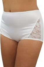Medium Control sze XL 42-44 in hip Lace Side Support Knickers Panties  White