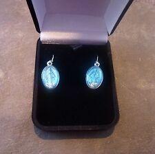 Miraculous Virgin Mary medal dangly earrings sterling silver hooks gift boxed