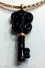 $1499 KEY TO UR HEART! 14K/10K CARVED JET BLACK ONYX BOLD KEY NECKLACE