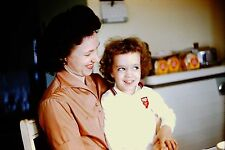 Vintage Slide 1950's Cute Mid Century Young Girl Curly Hair Smiling in Mom's Lap