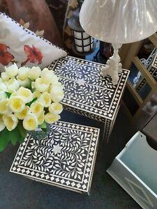Set of 2 Nesting Occasional Tables Inlaid Bone Design Furniture