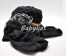 Womens Winter Hat Scarf Set Hoodie Beanie ROSE Ear Warmer Knitted Cap