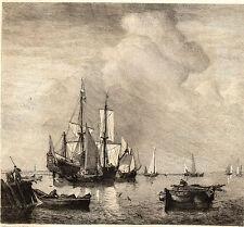 EAU FORTE 1860 / CALME Willem van de Velde 1633-1707