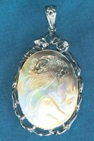 Vintage Stunning Cameo Carved Into Actual Shell Iridescent Color Pendant Jewelry