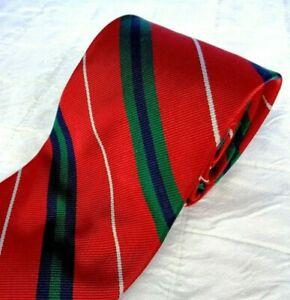 VTG Mannex Cravats of California All Silk Repp Tie Red + Stripes Organzine Warp