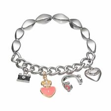 JUICY COUTURE Camera, Heart & Headphones Charm Stretch Bracelet Pink NEW