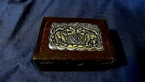 Small Wooden Trinket Box with Silver Metal Plate of Elephants on Top