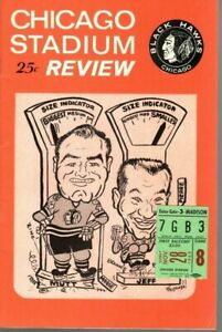 1965 11/28 NHL Hockey Program/ticket Montreal Canadiens @ Chicago Blackhawks~ EX